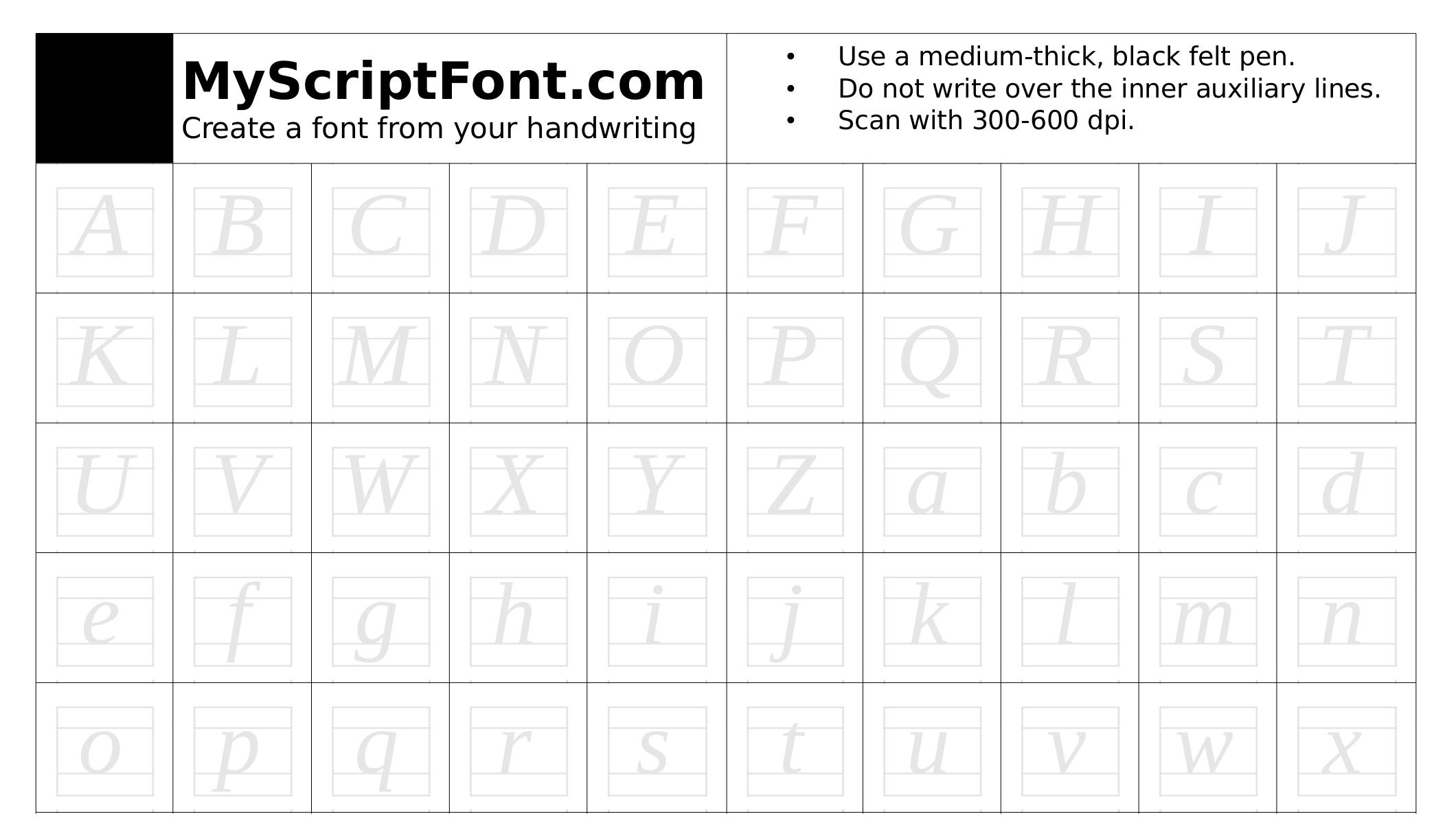 MyScriptFont template