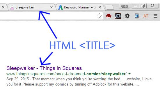 HTML title comics